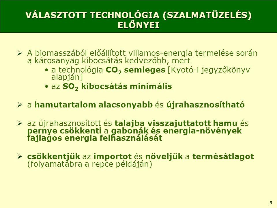 5 VÁLASZTOTT TECHNOLÓGIA (SZALMATÜZELÉS) ELŐNYEI  A biomasszából előállított villamos-energia termelése során a károsanyag kibocsátás kedvezőbb, mert •a technológia CO 2 semleges [Kyotó-i jegyzőkönyv alapján] •az SO 2 kibocsátás minimális  a hamutartalom alacsonyabb és újrahasznosítható  az újrahasznosított és talajba visszajuttatott hamu és pernye csökkenti a gabonák és energia-növények fajlagos energia felhasználását  csökkentjük az importot és növeljük a termésátlagot (folyamatábra a repce példáján)