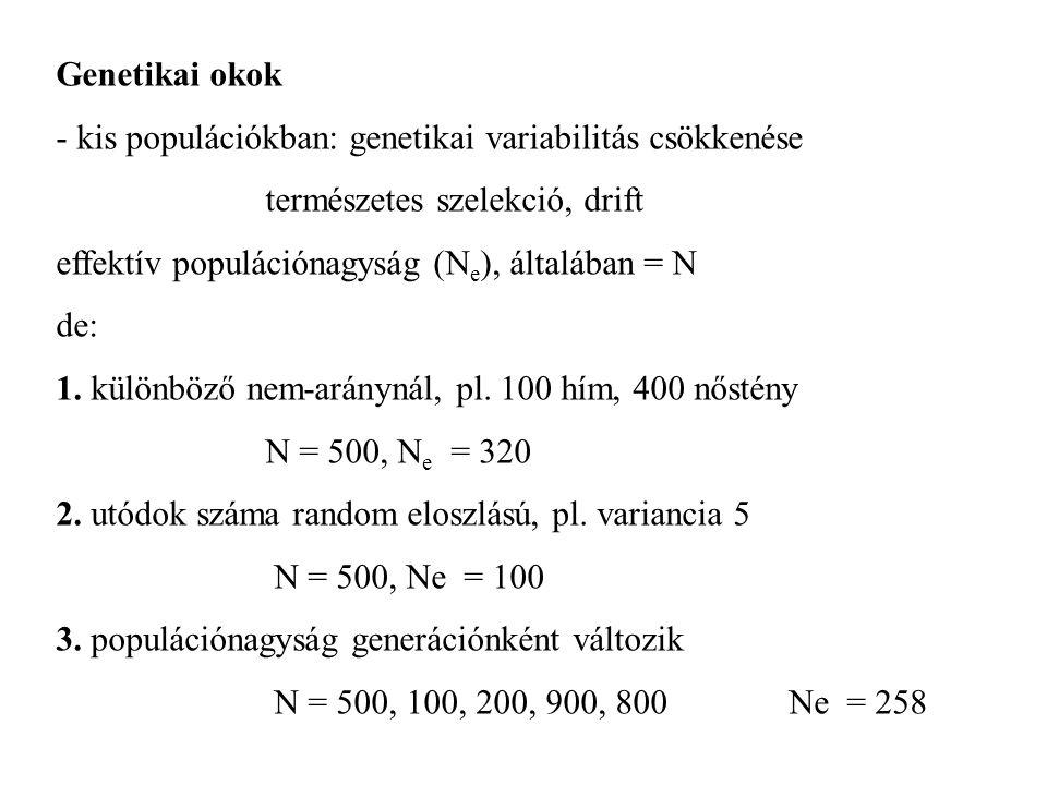 Genetikai okok - kis populációkban: genetikai variabilitás csökkenése természetes szelekció, drift effektív populációnagyság (N e ), általában = N de: