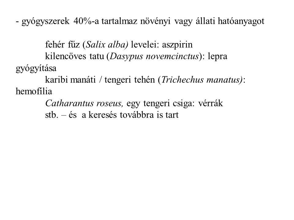 - gyógyszerek 40%-a tartalmaz növényi vagy állati hatóanyagot fehér fűz (Salix alba) levelei: aszpirin kilencöves tatu (Dasypus novemcinctus): lepra g