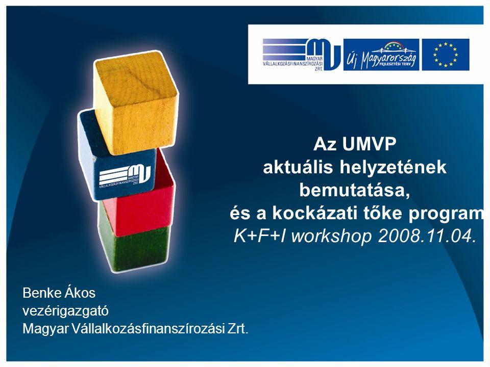 Benke Ákos vezérigazgató Magyar Vállalkozásfinanszírozási Zrt. Az UMVP aktuális helyzetének bemutatása, és a kockázati tőke program K+F+I workshop 200