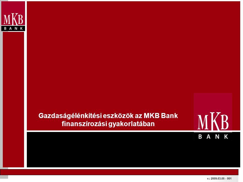 Gazdaságélénkítési eszközök Támogatott és refinanszírozott hitelkonstrukciók Új Magyarország Kis- és Középvállalati Hitelprogram Új Magyarország Forgóeszköz Hitelprogram Uniós pályázatok LEGFONTOSABB ENYHÍTÉSEK: •Magasabb támogatási intenzitások (akár 25-70%) •2 évnél fiatalabb cégek is pályázhatnak •Nagyvállalatok is pályázhatnak export/beszállítói árbevételtől függetlenül •Enyhülő vállalási feltételek: árbevétel stabilizálás árbevétel növekedés helyett vagy létszám megtartása •Gyorsabb támogatás lehívás (előleg akár a támogatás 40%-ig) Garantiqa Hitelgarancia A kormány 900 Milliárd Ft-ra emelte a garancia keretet ELÉRHETŐ FORRÁSOK BŐVÍTÉSE Az MKB csatlakozott a Hitelprogramokhoz EU támogatás előfinanszírozó hitel, EU garancia, EU beruházási hitel FEDEZETI HÁTTÉR ERŐSÍTÉSE Az MKB Partneri kapcsolatban áll a Hitelgarancia Zrt.- vel.
