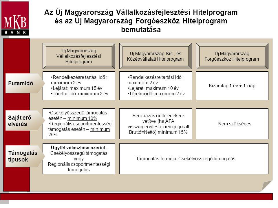 Az Új Magyarország Vállalkozásfejlesztési Hitelprogram és az Új Magyarország Forgóeszköz Hitelprogram bemutatása Új Magyarország Vállalkozásfejlesztési Hitelprogram Új Magyarország Forgóeszköz Hitelprogram Új Magyarország Kis-, és Középvállalati Hitelprogram Támogatás formája: Csekélyösszegű támogatás Beruházás nettó értékére vetítve (ha ÁFA visszaigénylésre nem jogosult Bruttó=Nettó) minimum 15% •Csekélyösszegű támogatás esetén – minimum 10% •Regionális csoportmentességi támogatás esetén – minimum 25% Saját erő elvárás Nem szükséges Ügyfél választása szerint: Csekélyösszegű támogatás vagy Regionális csoportmentességi támogatás Támogatás típusok •Rendelkezésre tartási idő : maximum 2 év •Lejárat: maximum 15 év •Türelmi idő: maximum 2 év Kizárólag 1 év + 1 nap •Rendelkezésre tartási idő : maximum 2 év •Lejárat: maximum 10 év •Türelmi idő: maximum 2 év Futamidő