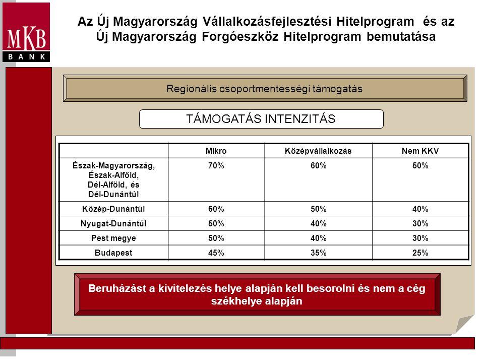 Az Új Magyarország Vállalkozásfejlesztési Hitelprogram és az Új Magyarország Forgóeszköz Hitelprogram bemutatása Regionális csoportmentességi támogatás Beruházást a kivitelezés helye alapján kell besorolni és nem a cég székhelye alapján TÁMOGATÁS INTENZITÁS MikroKözépvállalkozásNem KKV Észak-Magyarország, Észak-Alföld, Dél-Alföld, és Dél-Dunántúl 70%60%50% Közép-Dunántúl60%50%40% Nyugat-Dunántúl50%40%30% Pest megye50%40%30% Budapest45%35%25%
