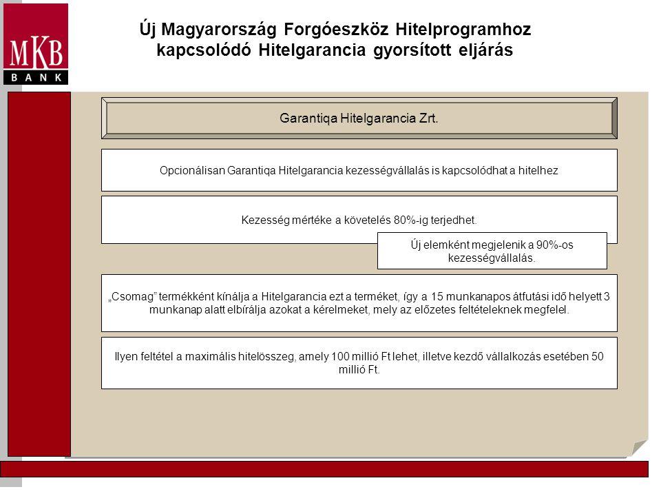 Új Magyarország Forgóeszköz Hitelprogramhoz kapcsolódó Hitelgarancia gyorsított eljárás Garantiqa Hitelgarancia Zrt. Opcionálisan Garantiqa Hitelgaran