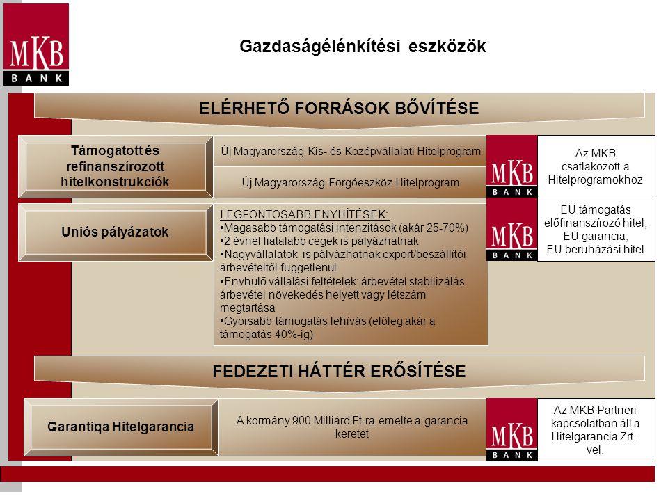 Gazdaságélénkítési eszközök Támogatott és refinanszírozott hitelkonstrukciók Új Magyarország Kis- és Középvállalati Hitelprogram Új Magyarország Forgó