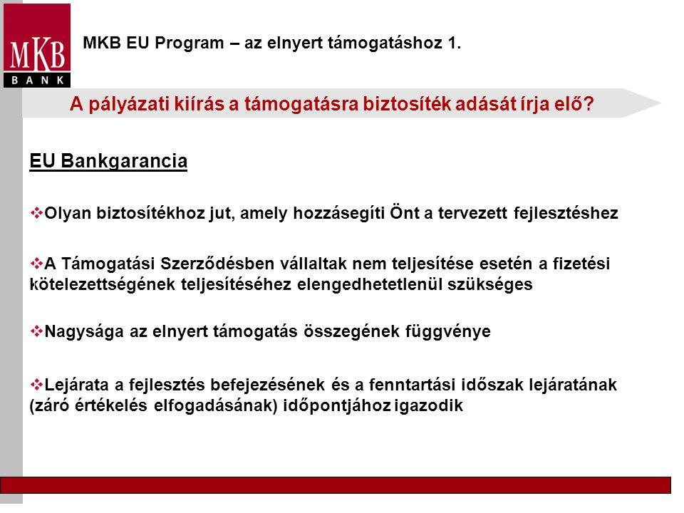 MKB EU Program – az elnyert támogatáshoz 1.  Olyan biztosítékhoz jut, amely hozzásegíti Önt a tervezett fejlesztéshez  Lejárata a fejlesztés befejez