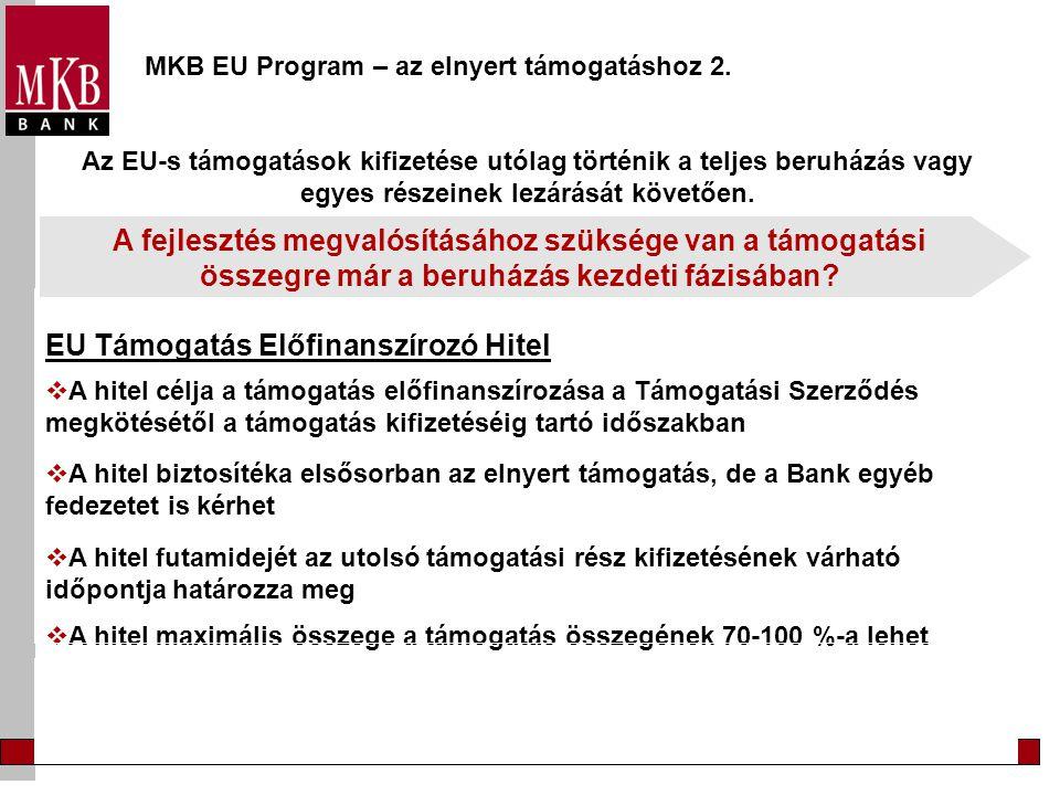 MKB EU Program – az önerő biztosításához EU Beruházási Hitel  A hitel futamideje a beruházás megvalósításának és megtérülésének függvénye  A megvalósítási szakaszban a tőketartozás megfizetésére türelmi időt kaphat  A hitel maximális összege a beruházás összköltségének maximum 70 %-a  A kamat mértéke egyedileg kerül meghatározásra, a Bank közép- és hosszúlejáratú kölcsöneinek kamatlába az irányadó A fejlesztés megvalósításához nem rendelkezik a támogatáson felüli összeg teljes egészével?