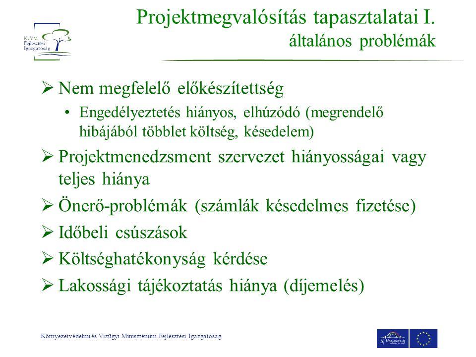 Környezetvédelmi és Vízügyi Minisztérium Fejlesztési Igazgatóság Projektmegvalósítás tapasztalatai I.