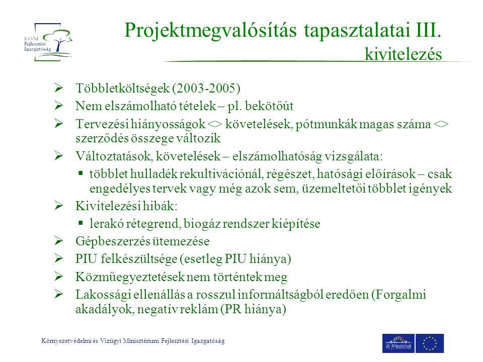 Környezetvédelmi és Vízügyi Minisztérium Fejlesztési Igazgatóság Projektmegvalósítás tapasztalatai III.