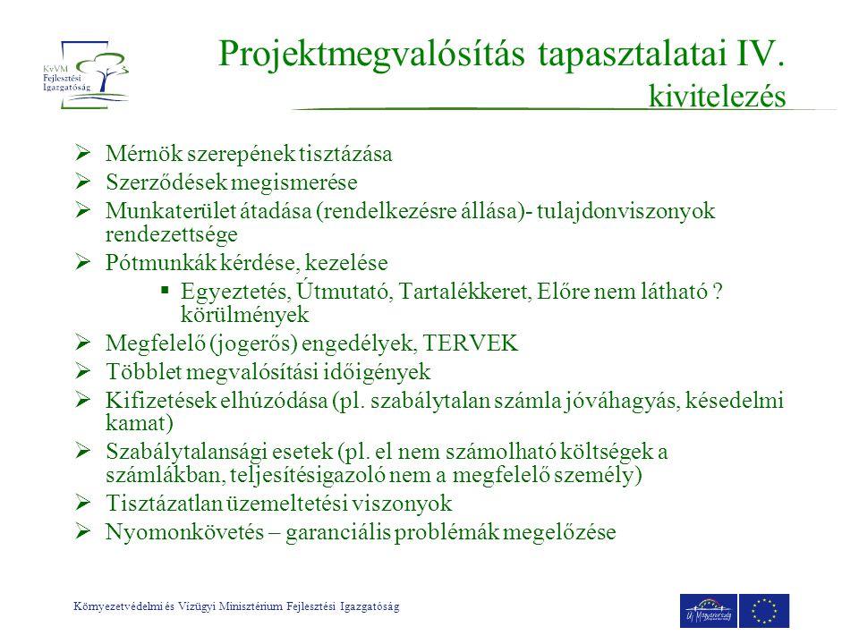 Környezetvédelmi és Vízügyi Minisztérium Fejlesztési Igazgatóság Projektmegvalósítás tapasztalatai IV.