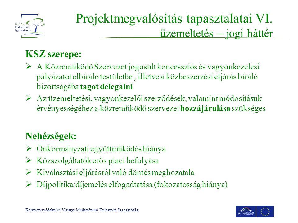 Környezetvédelmi és Vízügyi Minisztérium Fejlesztési Igazgatóság Projektmegvalósítás tapasztalatai VI.