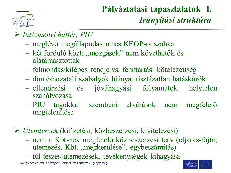 Környezetvédelmi és Vízügyi Minisztérium Fejlesztési Igazgatóság Pályáztatási tapasztalatok I.
