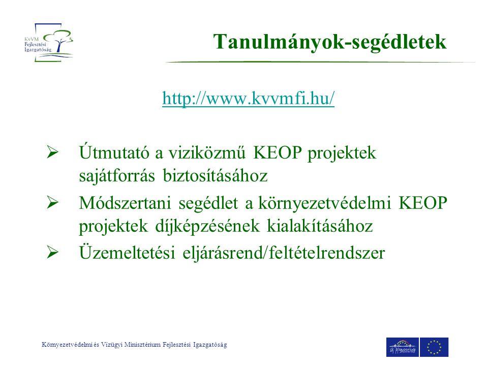 Környezetvédelmi és Vízügyi Minisztérium Fejlesztési Igazgatóság Tanulmányok-segédletek http://www.kvvmfi.hu/  Útmutató a viziközmű KEOP projektek sajátforrás biztosításához  Módszertani segédlet a környezetvédelmi KEOP projektek díjképzésének kialakításához  Üzemeltetési eljárásrend/feltételrendszer