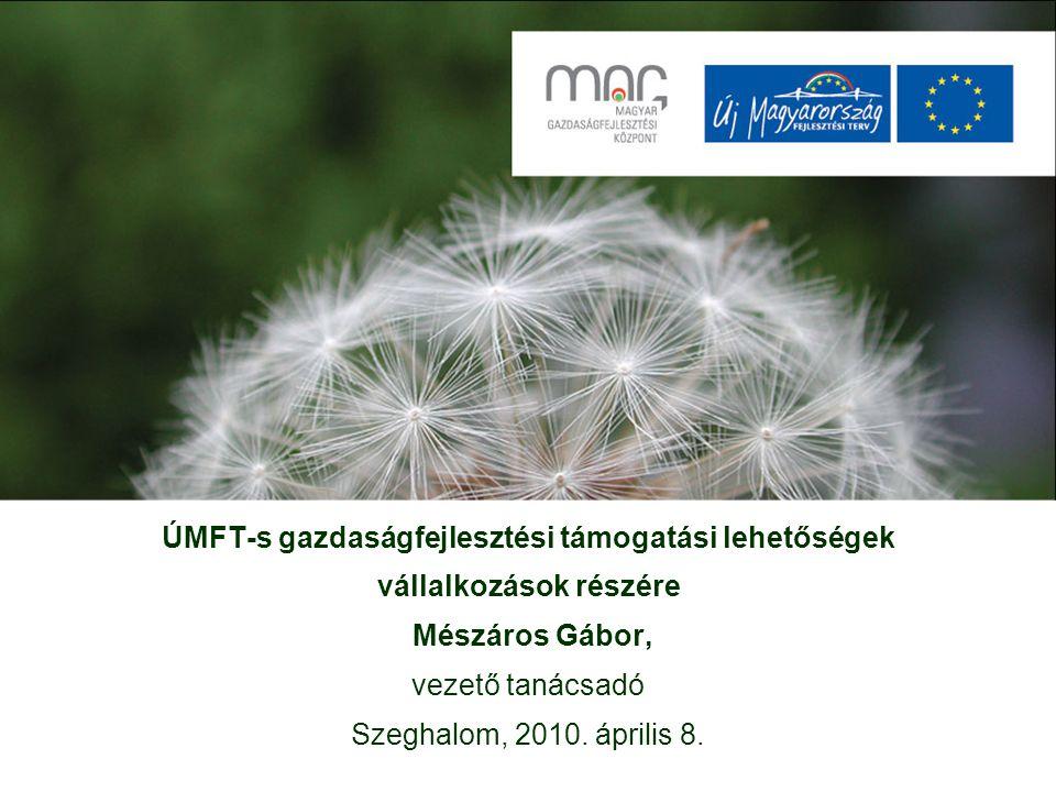 ÚMFT-s gazdaságfejlesztési támogatási lehetőségek vállalkozások részére Mészáros Gábor, vezető tanácsadó Szeghalom, 2010.