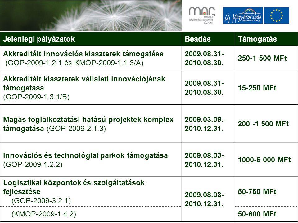 Jelenlegi pályázatokBeadásTámogatás Akkreditált innovációs klaszterek támogatása (GOP-2009-1.2.1 és KMOP-2009-1.1.3/A) 2009.08.31- 2010.08.30.