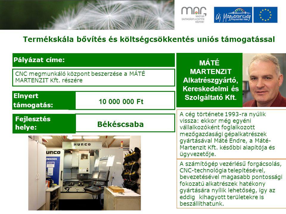 Termékskála bővítés és költségcsökkentés uniós támogatással MÁTÉ MARTENZIT Alkatrészgyártó, Kereskedelmi és Szolgáltató Kft.