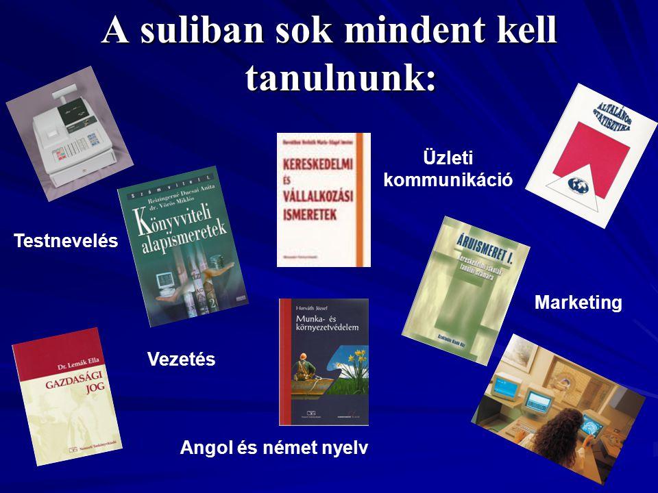A suliban sok mindent kell tanulnunk: Vezetés Üzleti kommunikáció Angol és német nyelv Testnevelés Marketing