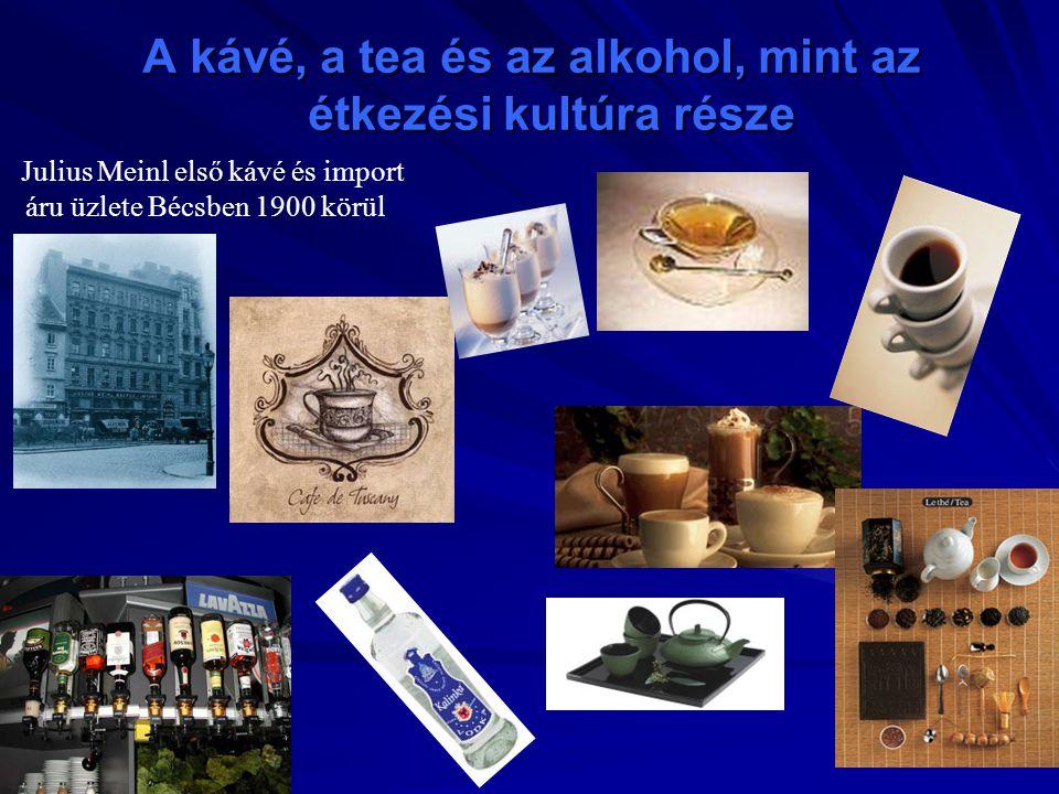 Julius Meinl első kávé és import áru üzlete Bécsben 1900 körül A kávé, a tea és az alkohol, mint az étkezési kultúra része