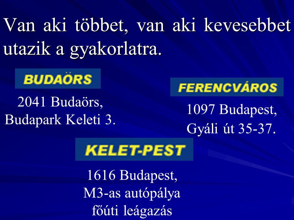 Van aki többet, van aki kevesebbet utazik a gyakorlatra. 2041 Budaörs, Budapark Keleti 3. 1097 Budapest, Gyáli út 35-37. 1616 Budapest, M3-as autópály