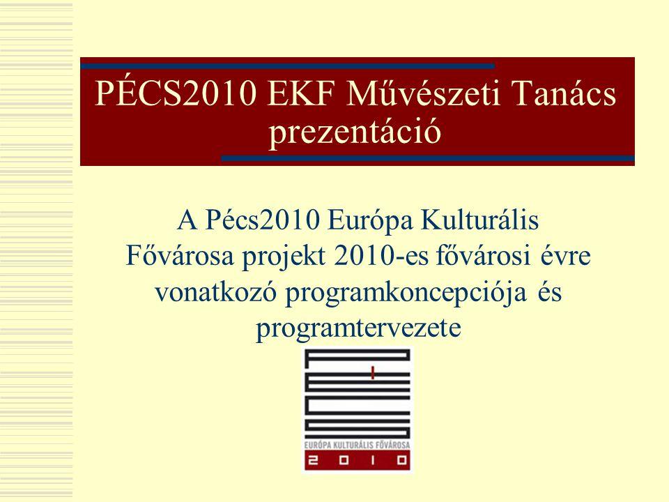PÉCS2010 EKF Művészeti Tanács prezentáció A Pécs2010 Európa Kulturális Fővárosa projekt 2010-es fővárosi évre vonatkozó programkoncepciója és programt