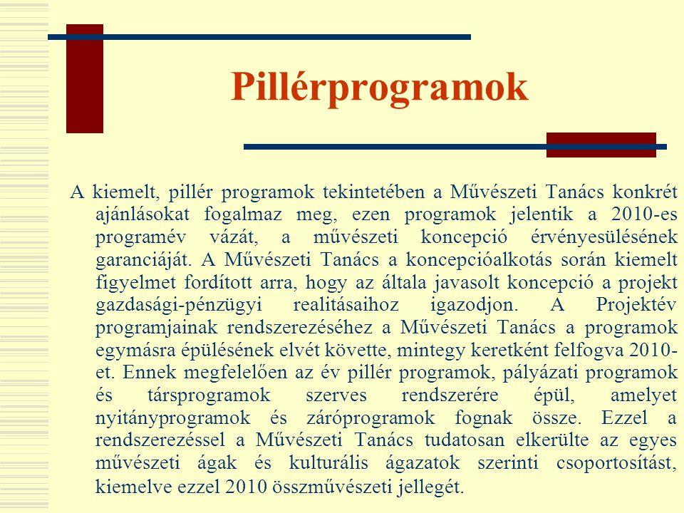 Pillérprogramok A kiemelt, pillér programok tekintetében a Művészeti Tanács konkrét ajánlásokat fogalmaz meg, ezen programok jelentik a 2010-es progra