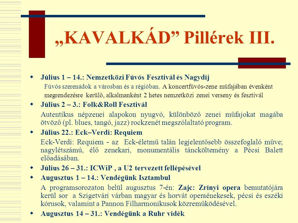 """""""KAVALKÁD"""" Pillérek III.  Július 1 – 14.: Nemzetközi Fúvós Fesztivál és Nagydíj Fúvós szerenádok a városban és a régióban. A koncertfúvós-zene műfajá"""