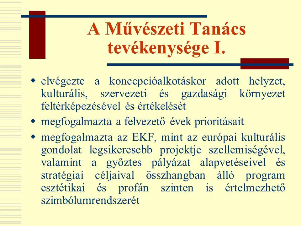 """Meghívásos pályázatok Az EKF-hez beérkezett, a Művészeti Tanács által megismert és értékesnek ítélt kulturális tartalmak továbbfejlesztését és megvalósítását célzó pályázatok, mint például:  balkáni háború reflexiói – fotóművészeti pályázat  zeneszerzői pályázat új zenemű írására  Világörökségi helyszínek fókuszba állítása, új bemutatási metódus bevezetése  """"gyerekek városa : a városban élő gyerekek számára interaktív kiállításokon bemutatni a város gyerekeinek egykori életét  Fordítói, könyvkiadói pályázat (a német nyelvterület és a DKÖ bekapcsolásával)  """"kőbe vésett pécsi gondolatok  kísérleti művészeti programok  Konferencia és koncertközpont programjai  Tudásközpont: tudomány testközelben  Művészet a digitális korszakban {média, internet (pl."""