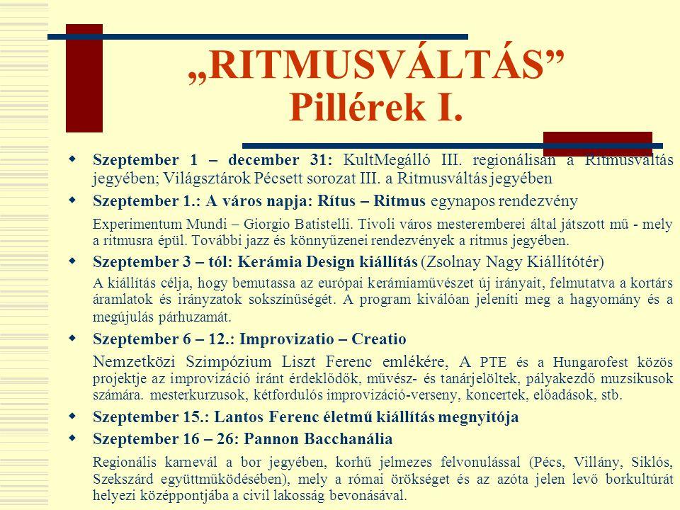 """""""RITMUSVÁLTÁS"""" Pillérek I.  Szeptember 1 – december 31: KultMegálló III. regionálisan a Ritmusváltás jegyében; Világsztárok Pécsett sorozat III. a Ri"""