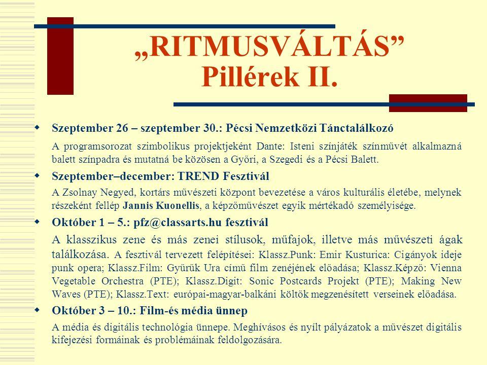 """""""RITMUSVÁLTÁS"""" Pillérek II.  Szeptember 26 – szeptember 30.: Pécsi Nemzetközi Tánctalálkozó A programsorozat szimbolikus projektjeként Dante: Isteni"""