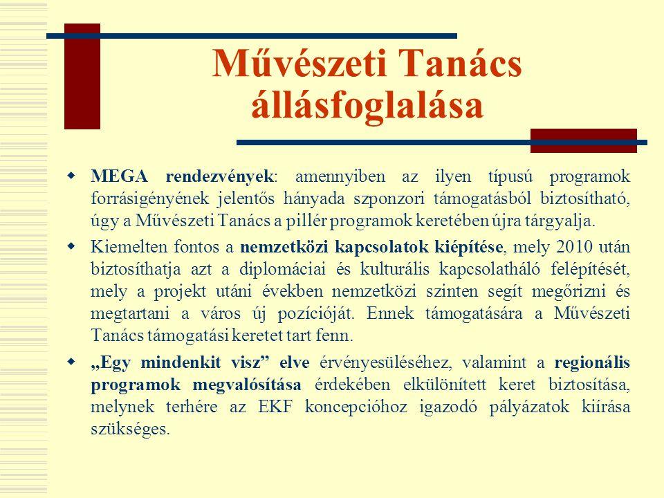 Művészeti Tanács állásfoglalása  MEGA rendezvények: amennyiben az ilyen típusú programok forrásigényének jelentős hányada szponzori támogatásból bizt