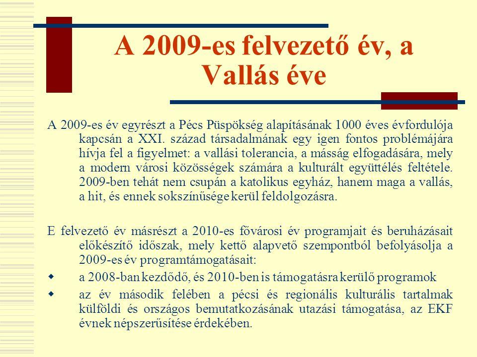 A 2009-es felvezető év, a Vallás éve A 2009-es év egyrészt a Pécs Püspökség alapításának 1000 éves évfordulója kapcsán a XXI. század társadalmának egy