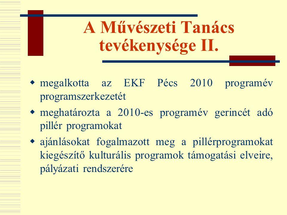 A Művészeti Tanács tevékenysége II.  megalkotta az EKF Pécs 2010 programév programszerkezetét  meghatározta a 2010-es programév gerincét adó pillér