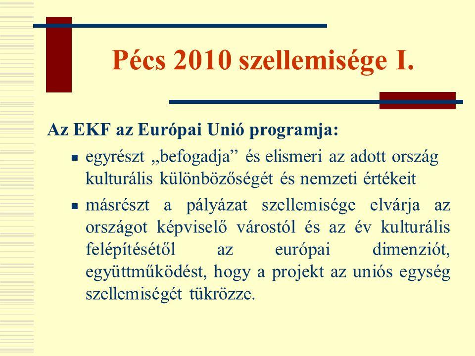 """Pécs 2010 szellemisége I. Az EKF az Európai Unió programja:  egyrészt """"befogadja"""" és elismeri az adott ország kulturális különbözőségét és nemzeti ér"""