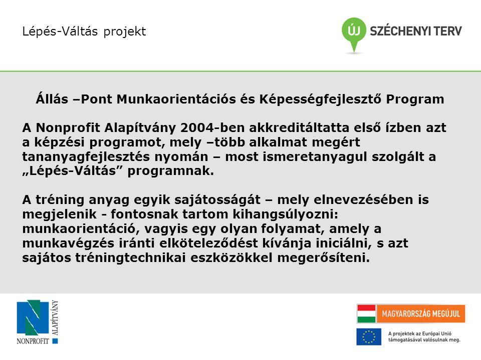 Lépés-Váltás projekt Állás –Pont Munkaorientációs és Képességfejlesztő Program A Nonprofit Alapítvány 2004-ben akkreditáltatta első ízben azt a képzés