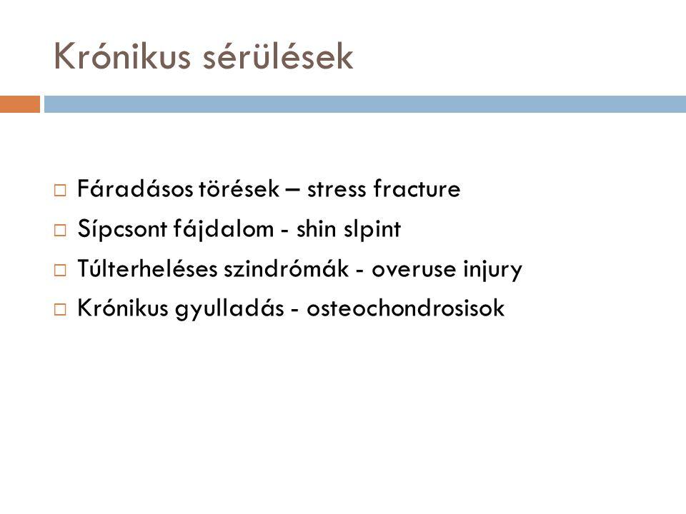 Krónikus sérülések  Fáradásos törések – stress fracture  Sípcsont fájdalom - shin slpint  Túlterheléses szindrómák - overuse injury  Krónikus gyul