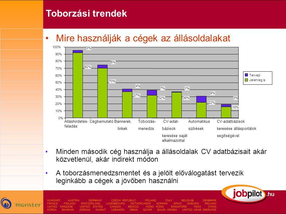 •Mire használják a cégek az állásoldalakat •Minden második cég használja a állásoldalak CV adatbázisait akár közvetlenül, akár indirekt módon •A toborzásmenedzsmentet és a jelölt előválogatást tervezik leginkább a cégek a jövőben használni 0% 10% 20% 30% 40% 50% 60% 70% 80% 90% 100% Tervezi Jelenleg is Álláshirdetés- feladás Bannerek, linkek CV-adat- bázisok keresése saját alkalmazottal CégbemutatóToborzás- menedzs.