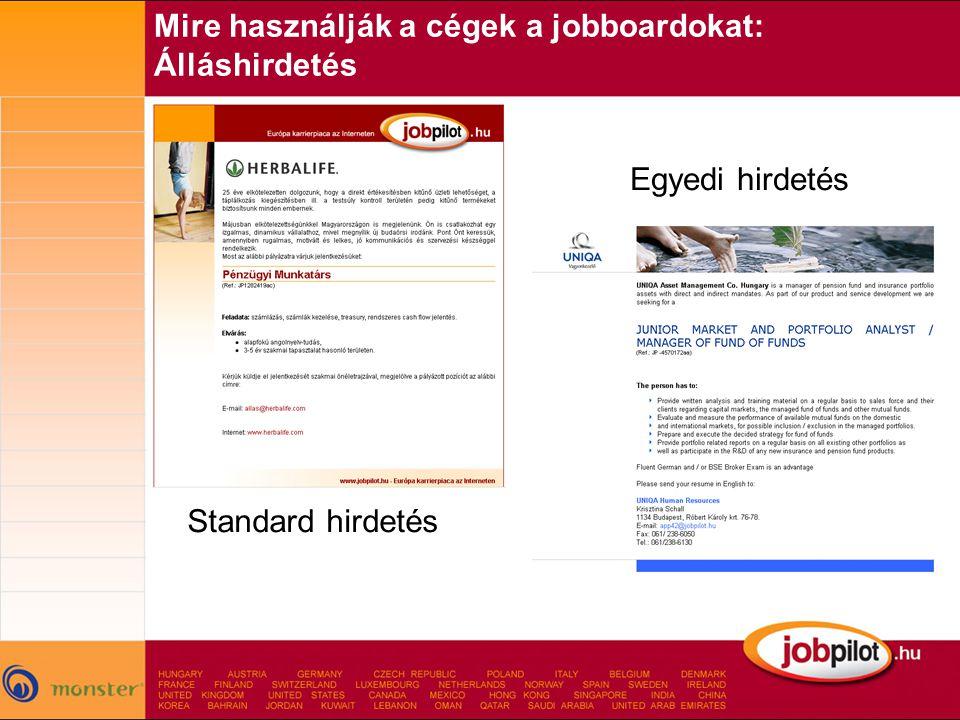 Mire használják a cégek a jobboardokat: Álláshirdetés Standard hirdetés Egyedi hirdetés