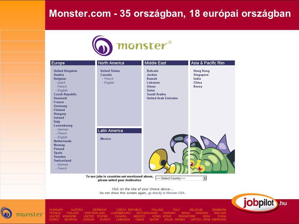 Monster.com - 35 országban, 18 európai országban