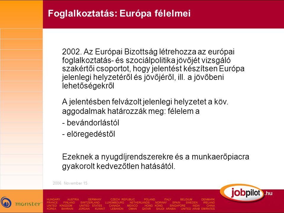 Foglalkoztatás: Európa félelmei 2006.November 15.