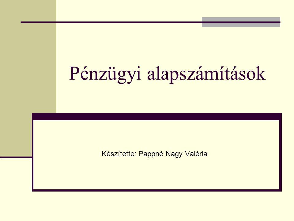 Pénzügyi alapszámítások Készítette: Pappné Nagy Valéria