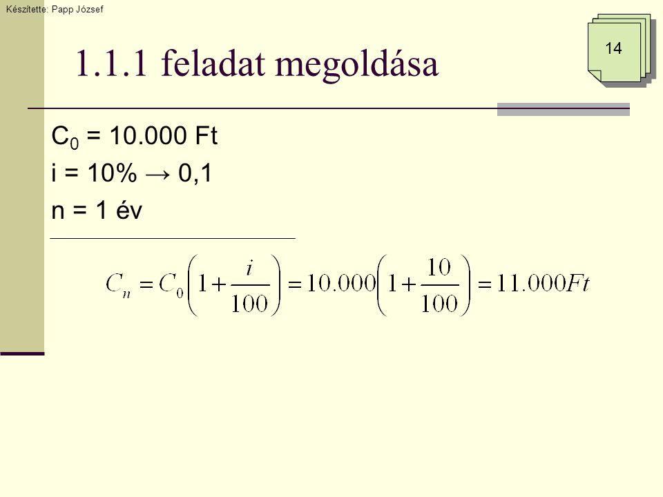 1.1.1 feladat megoldása C 0 = 10.000 Ft i = 10% → 0,1 n = 1 év Készítette: Papp József 14