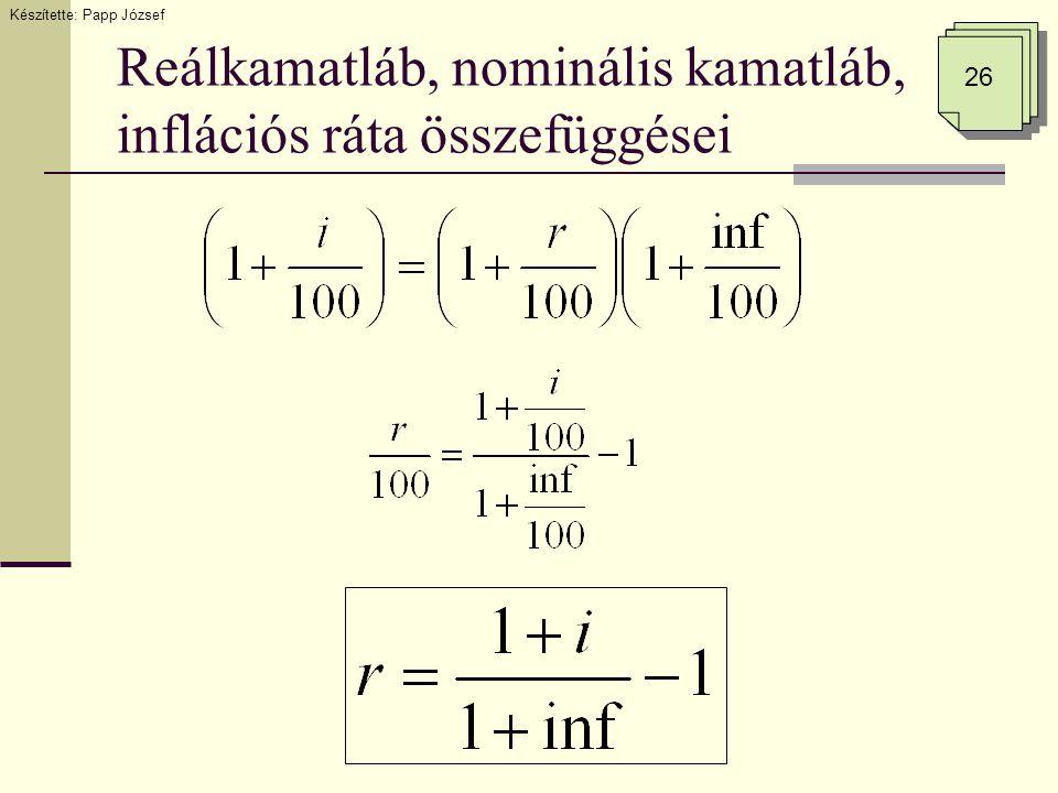 Reálkamatláb, nominális kamatláb, inflációs ráta összefüggései 26 Készítette: Papp József