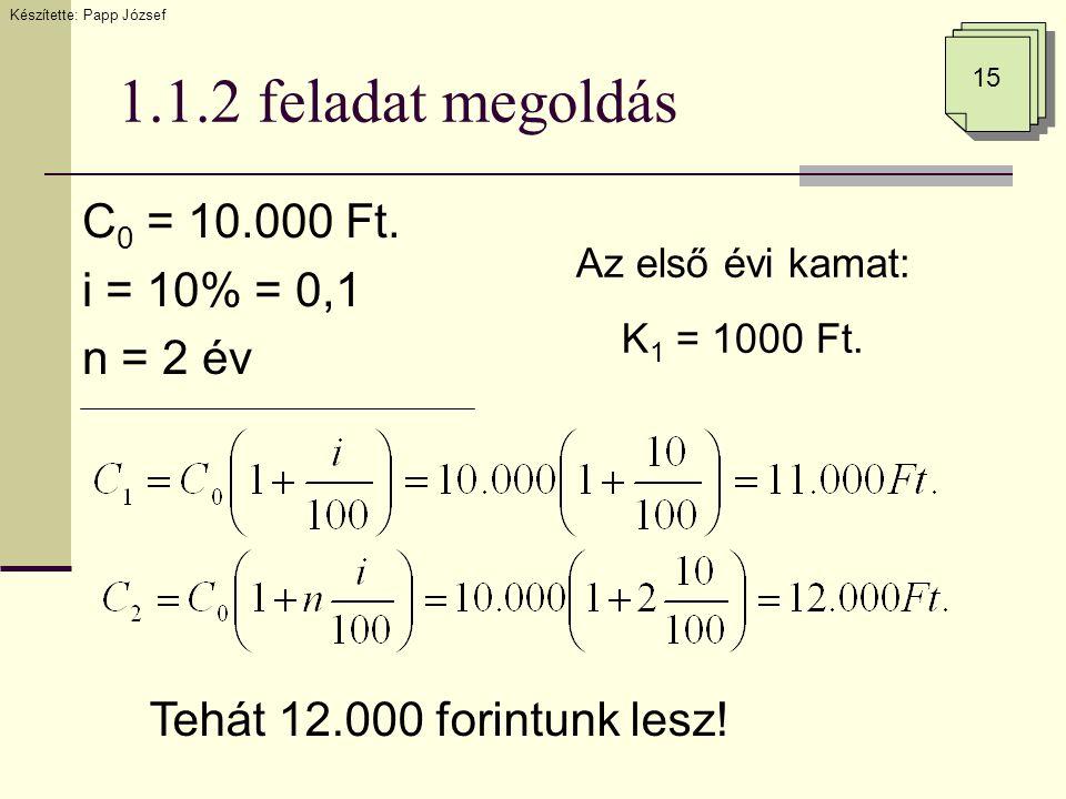 1.1.2 feladat megoldás C 0 = 10.000 Ft. i = 10% = 0,1 n = 2 év Az első évi kamat: K 1 = 1000 Ft. Tehát 12.000 forintunk lesz! Készítette: Papp József