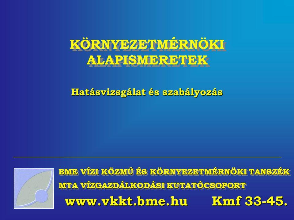 BME VÍZI KÖZMŰ ÉS KÖRNYEZETMÉRNÖKI TANSZÉK MTA VÍZGAZDÁLKODÁSI KUTATÓCSOPORT KÖRNYEZETMÉRNÖKI ALAPISMERETEK Hatásvizsgálat és szabályozás www.vkkt.bme