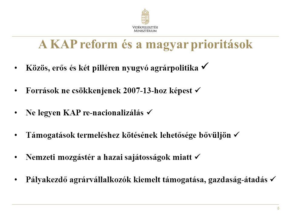 6 A KAP reform és a magyar prioritások • Közös, erős és két pilléren nyugvó agrárpolitika  • Források ne csökkenjenek 2007-13-hoz képest  • Ne legye