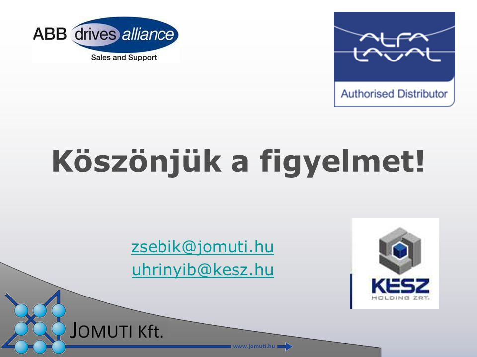 Köszönjük a figyelmet! zsebik@jomuti.hu uhrinyib@kesz.hu