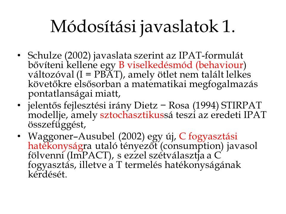 Módosítási javaslatok 1. • Schulze (2002) javaslata szerint az IPAT-formulát bővíteni kellene egy B viselkedésmód (behaviour) változóval (I = PBAT), a