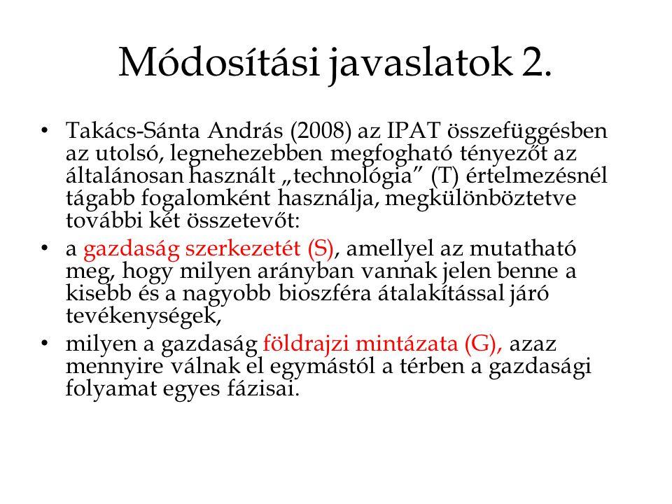 """Módosítási javaslatok 2. • Takács-Sánta András (2008) az IPAT összefüggésben az utolsó, legnehezebben megfogható tényezőt az általánosan használt """"tec"""