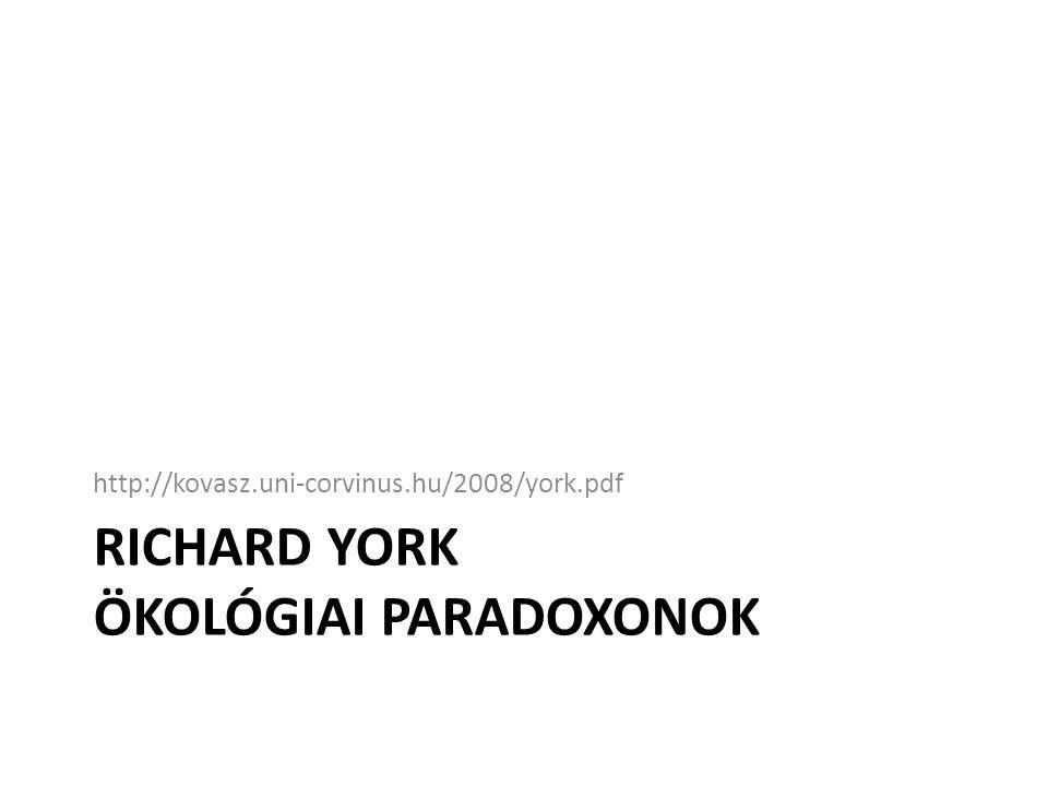 RICHARD YORK ÖKOLÓGIAI PARADOXONOK http://kovasz.uni-corvinus.hu/2008/york.pdf