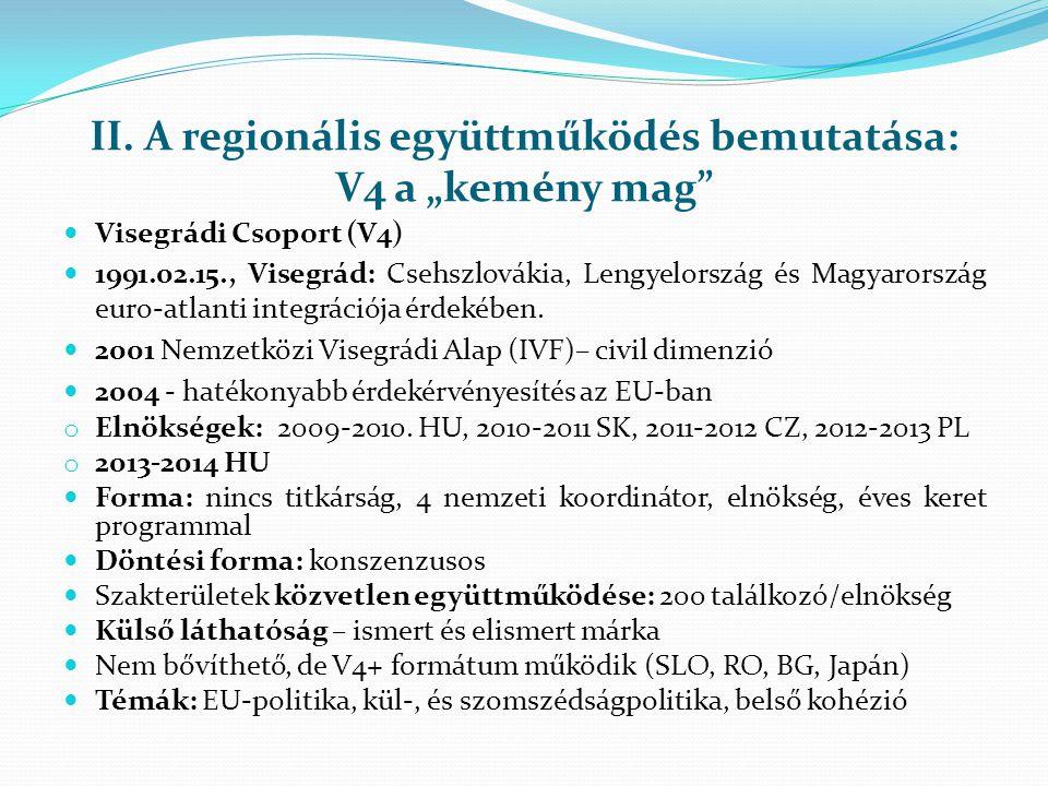 """II. A regionális együttműködés bemutatása: V4 a """"kemény mag""""  Visegrádi Csoport (V4)  1991.02.15., Visegrád: Csehszlovákia, Lengyelország és Magyaro"""